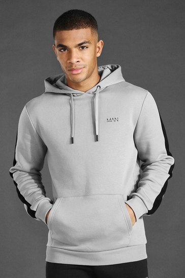 Ash grey Man Active Oth Side Stripe Hoodie