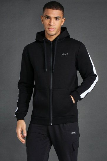 Black Man Active Oth Zip Through Side Stripe Hoodie