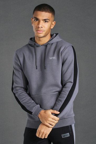 Charcoal grey Man Active Oth Side Stripe Hoodie