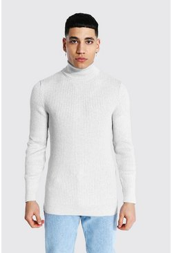 Grey marl grey Ribbed Roll Neck Sweater