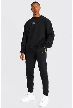 Black Oversized Man Signature Sweater Tracksuit