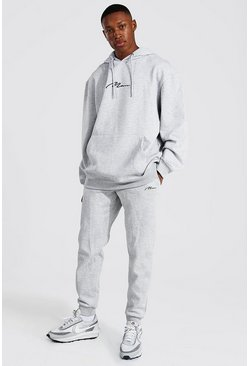 Grey marl grey Oversized Man Signature Hooded Tracksuit