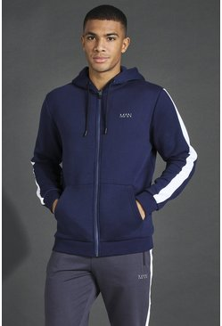 Navy Man Active Oth Zip Through Side Stripe Hoodie