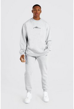 Grey marl grey Oversized Man Signature Sweater Tracksuit