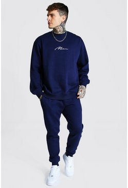 Navy Oversized Man Signature Sweater Tracksuit