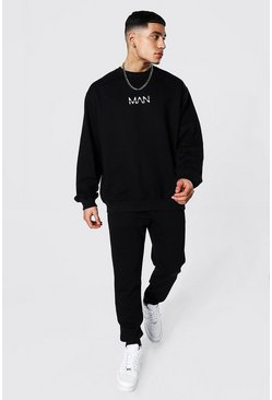 Black Oversized Original Man Sweater Tracksuit