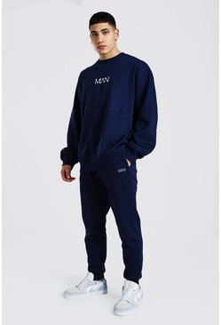 Oversized Original Man Sweater Tracksuit, Navy Тёмно-синий