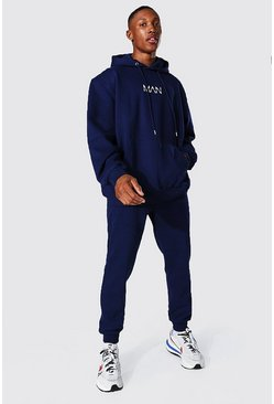 Navy Oversized Original Man Hooded Tracksuit