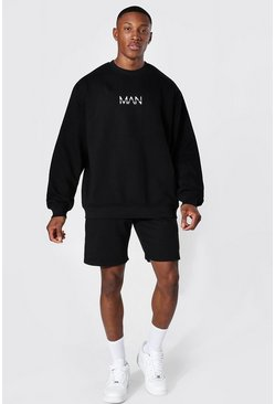 Black Oversized Original Man Short Sweat Tracksuit