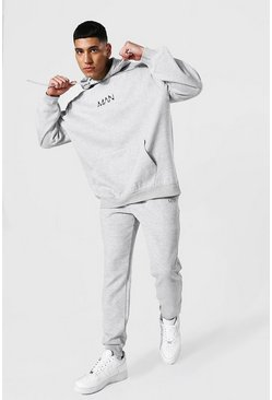 Grey marl grey Oversized Original Man Hooded Tracksuit