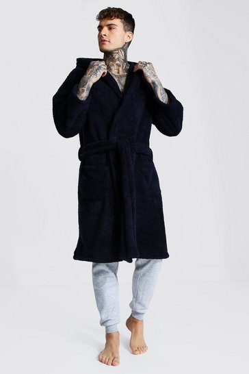 Navy Fleece Hooded Dressing Gown