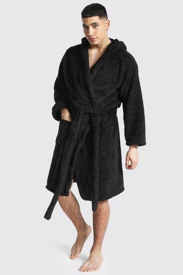 Black Fleece Hooded Dressing Gown