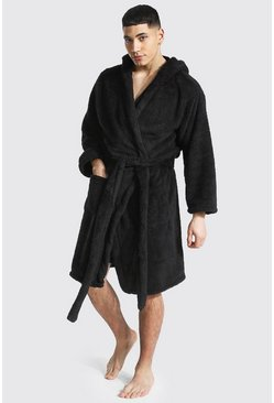 Black Fleece Hooded Dressing Gown