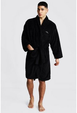 Man Signature Fleece-Morgenmantel, Schwarz