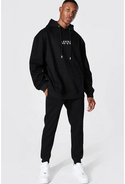 Black Oversized Original Man Hooded Tracksuit