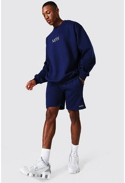Navy Oversized Original Man Short Sweat Tracksuit