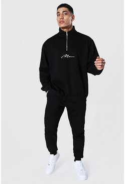 Black Oversized Man Signature Half Zip Tracksuit