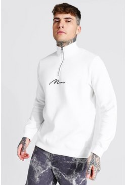 Ecru white Man Signature Half Zip Funnel Neck Sweatshirt