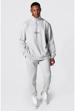 Grey marl grey Oversized Original Man Half Zip Tracksuit