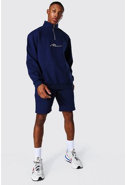 Navy Oversized Man Signature Half Zip Short Tracks