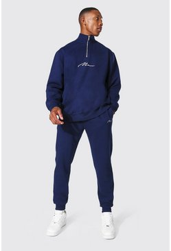 Navy Oversized Man Signature Half Zip Tracksuit