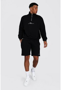 Black Oversized Man Signature Half Zip Short Tracks