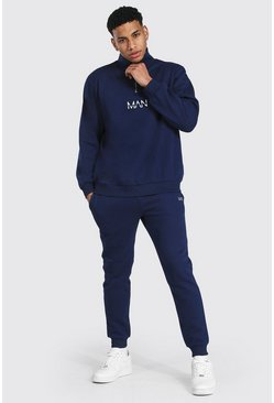 Navy Oversized Original Man Half Zip Tracksuit