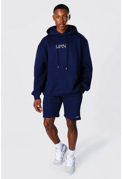 Navy Oversized Original Man Short Hood Tracksuit
