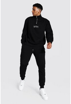 Black Oversized Original Man Half Zip Tracksuit
