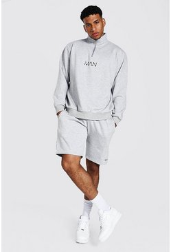 Grey marl grey Oversized Original Man Short Zip Tracksuit