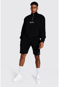 Black Oversized Original Man Zip Short Tracksuit