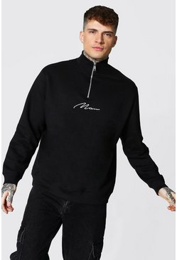 Black Oversized Man Signature 1/2 Zip Funnel Sweat