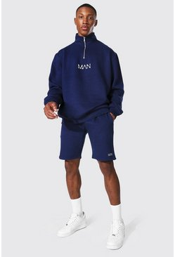 Navy Oversized Original Man Short Zip Tracksuit