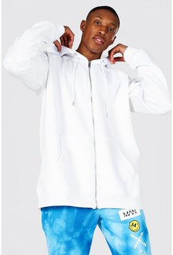 Oversized Zip Through Raglan Hoodie, White Белый