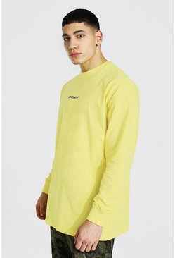 Yellow Official Man Oversized Ls Crew Neck T-shirt