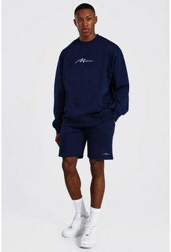 Navy Oversized Man Signature Short Sweat Tracksuit