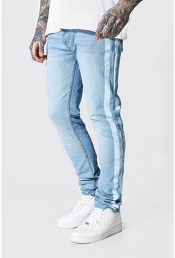 Ice blue Skinny Stretch Stacked Leg Jean Side Stripe