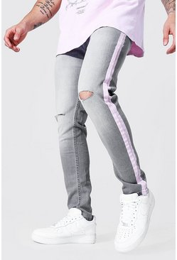 Ice grey Skinny Stretch Multi Rip Jean With Side Strip
