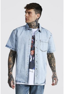 Ice blue Oversized Rigid Short Sleeve Denim Shirt
