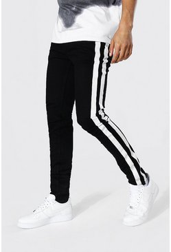 True black Skinny Stretch Stacked Leg Jean Side Stripe