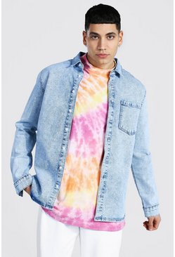 Ice blue Regular Fit Long Sleeve Stretch Denim Shirt