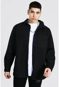 True black Oversized Rigid Long Sleeve Denim Shirt
