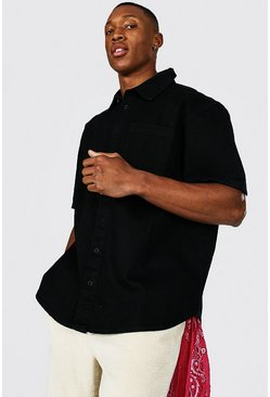 True black Oversized Rigid Short Sleeve Denim Shirt