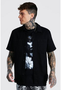 True black Regular Fit Short Sleeve Stretch Denim Shirt