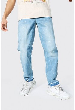 Ice blue Relaxed Fit Painted Detail Jean With Let Down