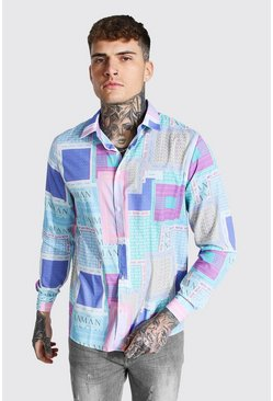 Multi Long Sleeve Pastel Man Print Shirt