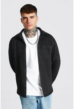 True black Regular Fit Long Sleeve Stretch Denim Shirt