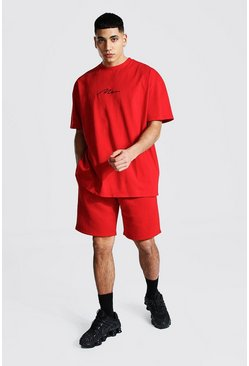 Red Oversized Man T-shirt And Short Set