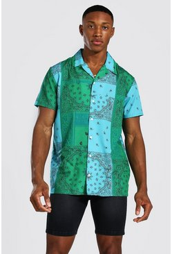 Teal green Short Sleeve Bandana Shirt