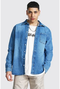 Mid blue blue Regular Fit Long Sleeve Stretch Denim Shirt